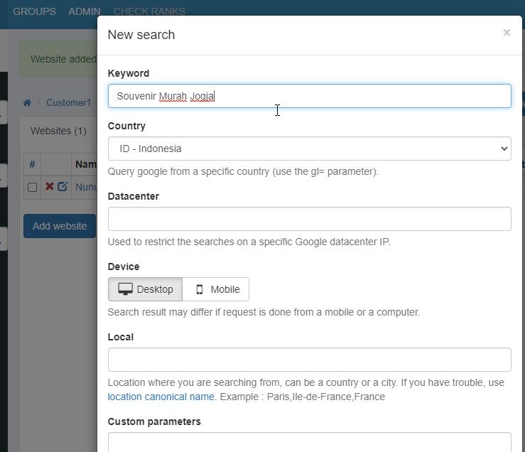 Penggunaan aplikasi Serposcope pantau SERP masukan kata kunci