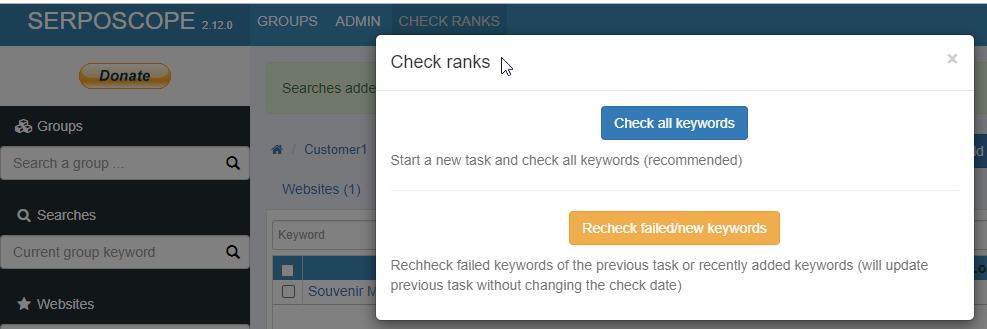 Penggunaan aplikasi Serposcope pantau SERP Sheck all keyword